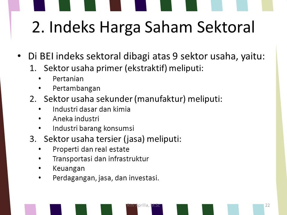 2. Indeks Harga Saham Sektoral Di BEI indeks sektoral dibagi atas 9 sektor usaha, yaitu: 1.Sektor usaha primer (ekstraktif) meliputi: Pertanian Pertam
