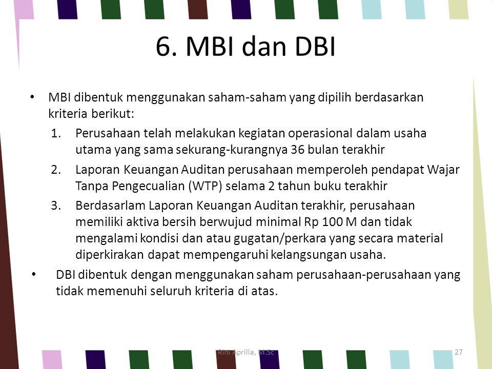 6. MBI dan DBI MBI dibentuk menggunakan saham-saham yang dipilih berdasarkan kriteria berikut: 1.Perusahaan telah melakukan kegiatan operasional dalam