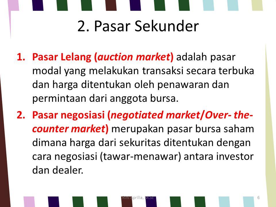 2. Pasar Sekunder 1.Pasar Lelang (auction market) adalah pasar modal yang melakukan transaksi secara terbuka dan harga ditentukan oleh penawaran dan p