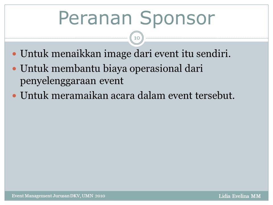 Lidia Evelina MM Event Management Jurusan DKV, UMN 2010 10 Peranan Sponsor Untuk menaikkan image dari event itu sendiri.