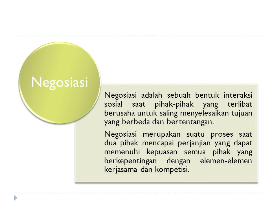 Negosiasi adalah sebuah bentuk interaksi sosial saat pihak-pihak yang terlibat berusaha untuk saling menyelesaikan tujuan yang berbeda dan bertentanga