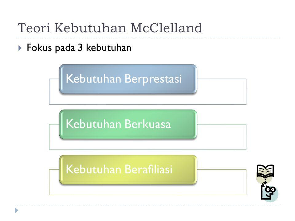 Teori Kebutuhan McClelland  Fokus pada 3 kebutuhan Kebutuhan BerprestasiKebutuhan BerkuasaKebutuhan Berafiliasi