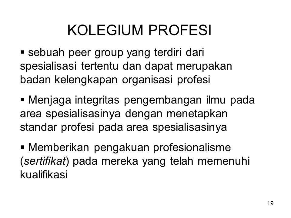 19 KOLEGIUM PROFESI  sebuah peer group yang terdiri dari spesialisasi tertentu dan dapat merupakan badan kelengkapan organisasi profesi  Menjaga integritas pengembangan ilmu pada area spesialisasinya dengan menetapkan standar profesi pada area spesialisasinya  Memberikan pengakuan profesionalisme (sertifikat) pada mereka yang telah memenuhi kualifikasi