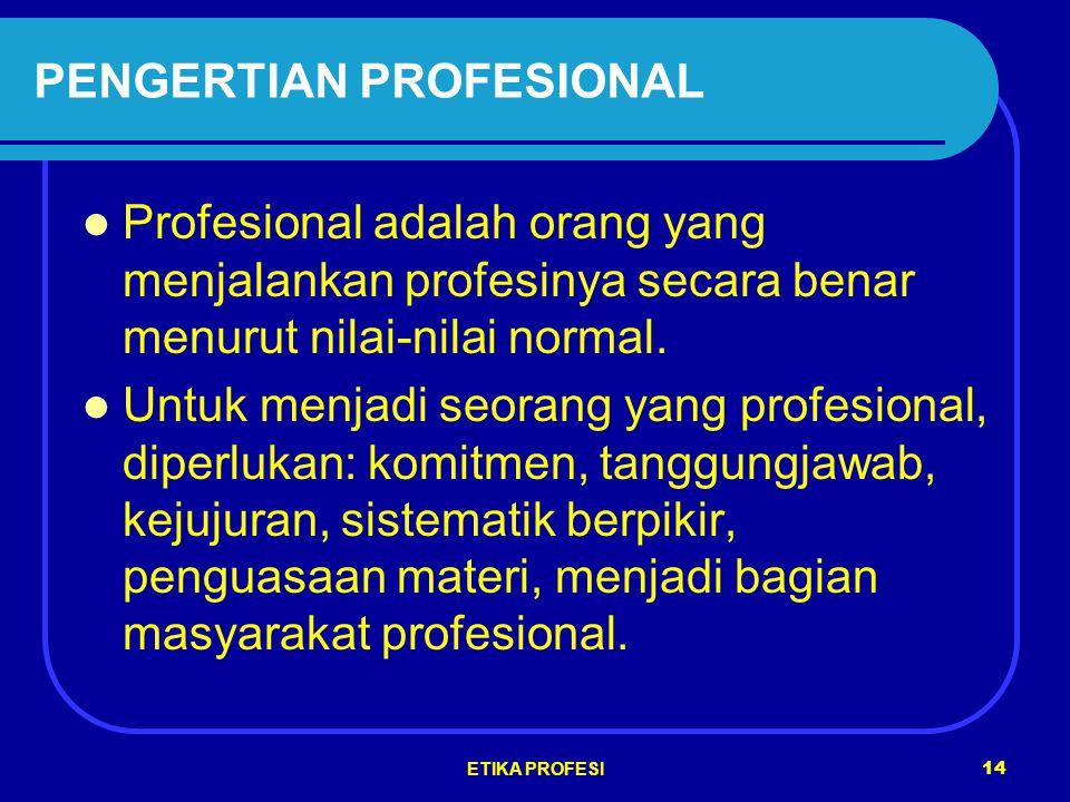ETIKA PROFESI 14 PENGERTIAN PROFESIONAL Profesional adalah orang yang menjalankan profesinya secara benar menurut nilai-nilai normal.