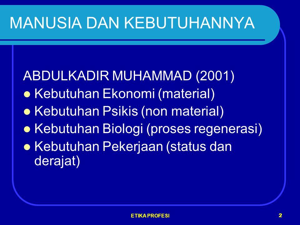 ETIKA PROFESI 2 MANUSIA DAN KEBUTUHANNYA ABDULKADIR MUHAMMAD (2001) Kebutuhan Ekonomi (material) Kebutuhan Psikis (non material) Kebutuhan Biologi (proses regenerasi) Kebutuhan Pekerjaan (status dan derajat)