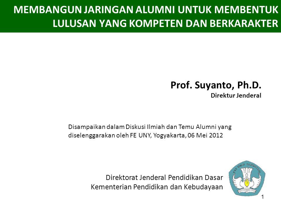 1 MEMBANGUN JARINGAN ALUMNI UNTUK MEMBENTUK LULUSAN YANG KOMPETEN DAN BERKARAKTER Prof. Suyanto, Ph.D. Direktur Jenderal Direktorat Jenderal Pendidika
