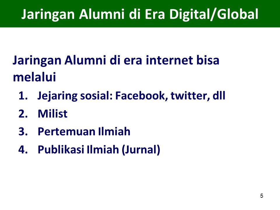 5 Jaringan Alumni di Era Digital/Global Jaringan Alumni di era internet bisa melalui 1.Jejaring sosial: Facebook, twitter, dll 2.Milist 3.Pertemuan Il