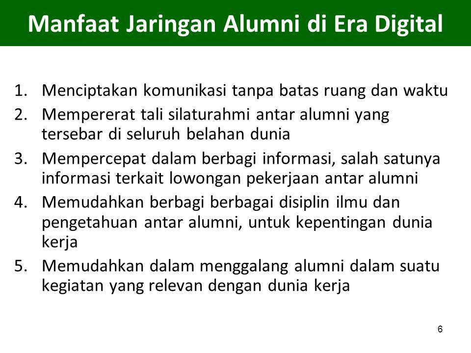 6 Manfaat Jaringan Alumni di Era Digital 1.Menciptakan komunikasi tanpa batas ruang dan waktu 2.Mempererat tali silaturahmi antar alumni yang tersebar