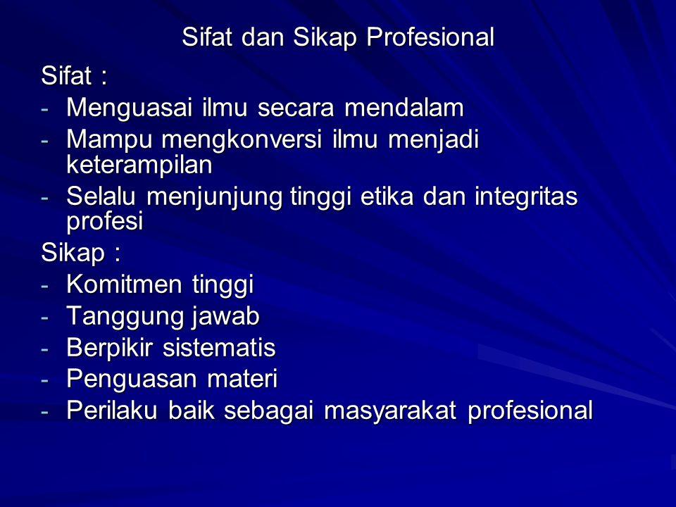 Sifat dan Sikap Profesional Sifat : - Menguasai ilmu secara mendalam - Mampu mengkonversi ilmu menjadi keterampilan - Selalu menjunjung tinggi etika dan integritas profesi Sikap : - Komitmen tinggi - Tanggung jawab - Berpikir sistematis - Penguasan materi - Perilaku baik sebagai masyarakat profesional