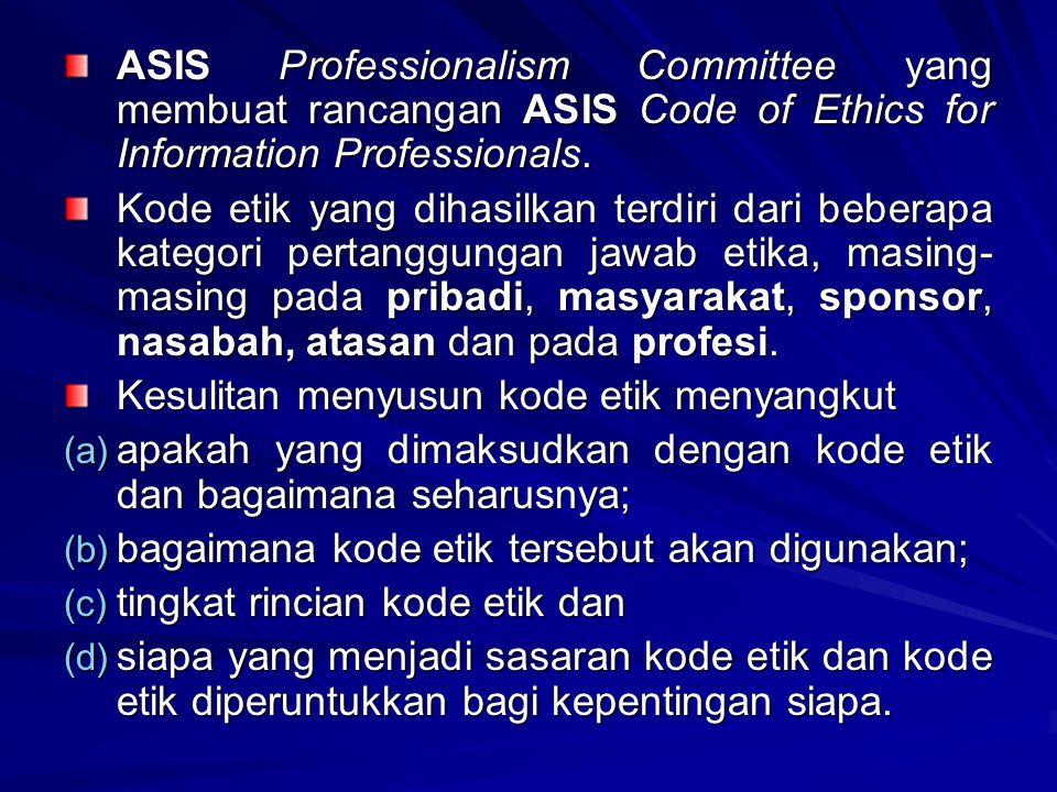ASIS Professionalism Committee yang membuat rancangan ASIS Code of Ethics for Information Professionals. Kode etik yang dihasilkan terdiri dari bebera