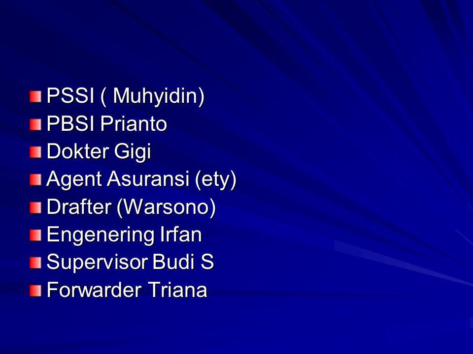 PSSI ( Muhyidin) PBSI Prianto Dokter Gigi Agent Asuransi (ety) Drafter (Warsono) Engenering Irfan Supervisor Budi S Forwarder Triana