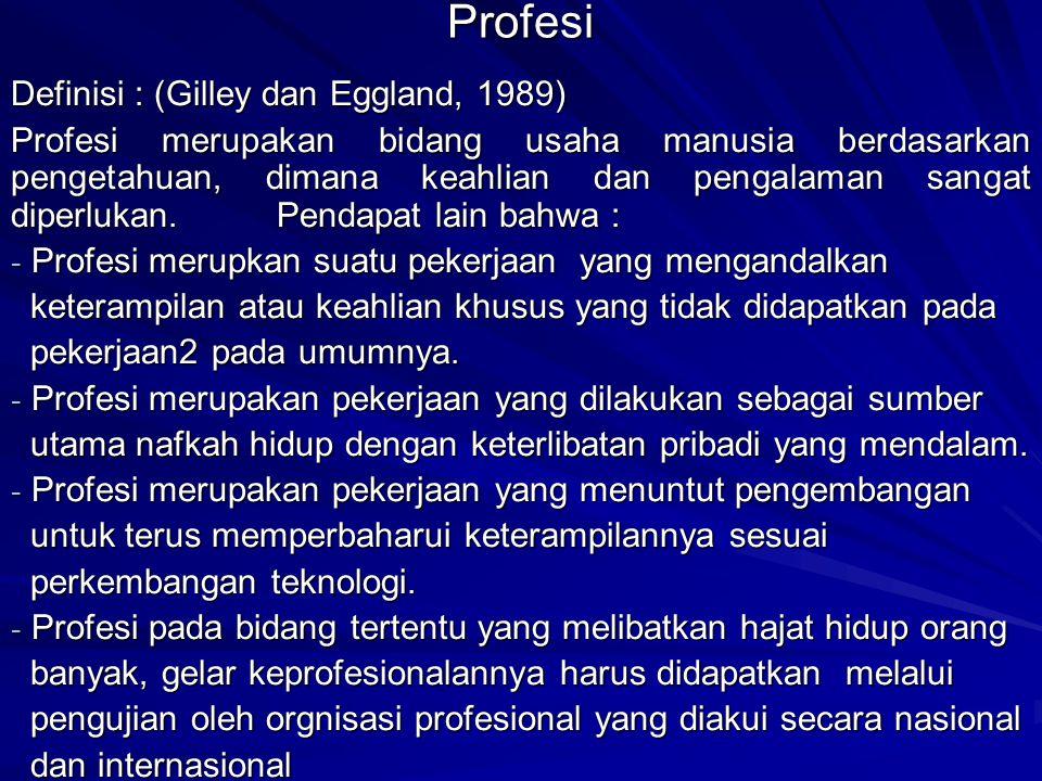 Menurut Harris [1995] ruang gerak seorang profesional ini akan diatur melalui etika profesi yang distandarkan dalam bentuk kode etik profesi.
