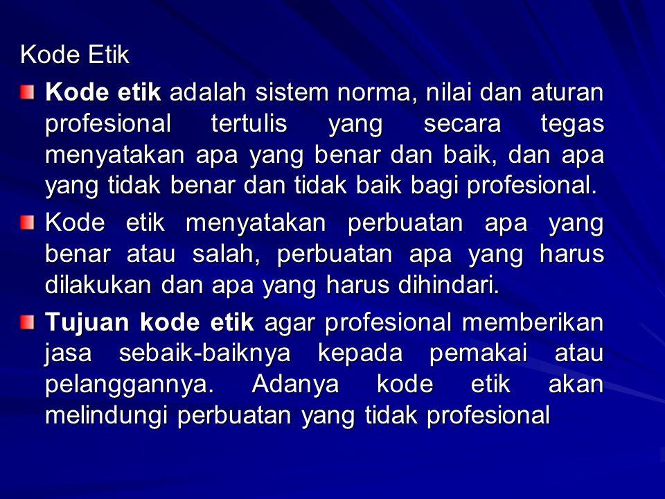 Tiga Fungsi dari Kode Etik Profesi 1.Kode etik profesi memberikan pedoman bagi setiap anggota profesi tentang prinsip profesionalitas yang digariskan; 2.Kode etik profesi merupakan sarana kontrol sosial bagi masyarakat atas profesi yang bersangkutan; 3.Kode etik profesi mencegah campur tangan pihak diluar organisasi profesi tentang hubungan etika dalam keanggotaan profesi