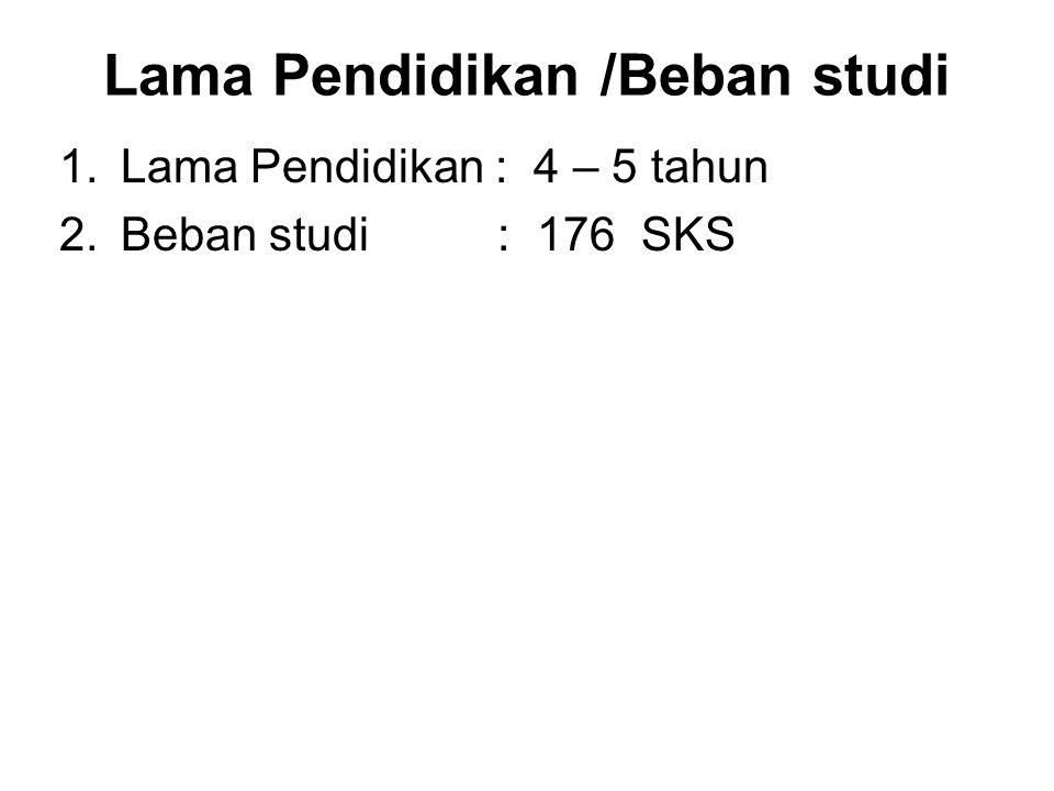 Lama Pendidikan /Beban studi 1.Lama Pendidikan : 4 – 5 tahun 2.Beban studi : 176 SKS
