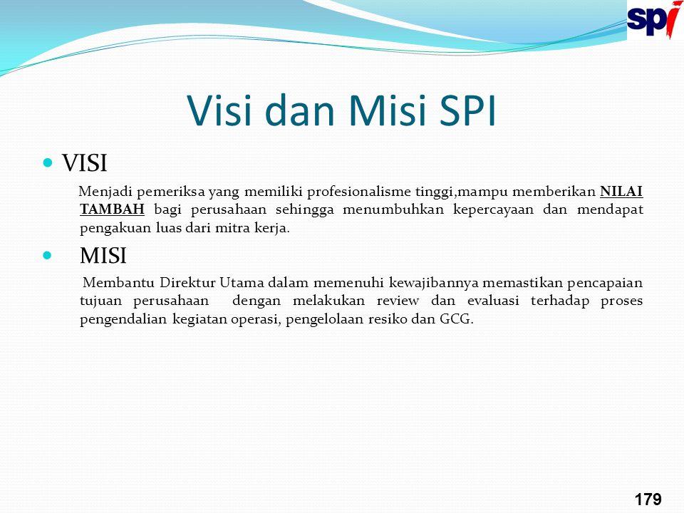 Visi dan Misi SPI VISI Menjadi pemeriksa yang memiliki profesionalisme tinggi,mampu memberikan NILAI TAMBAH bagi perusahaan sehingga menumbuhkan keper