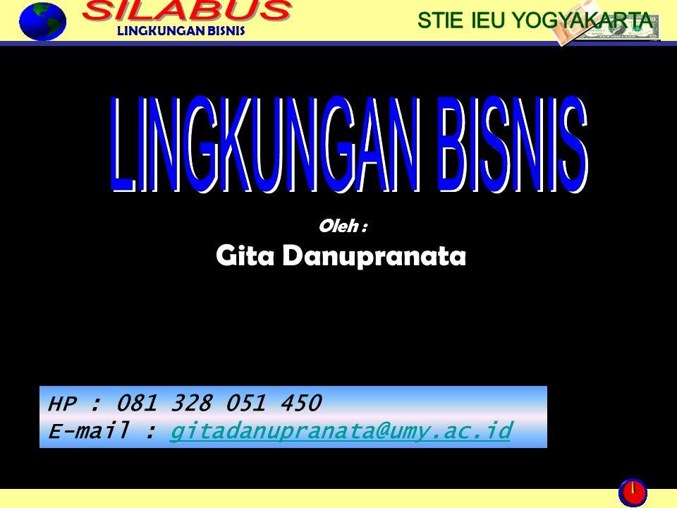LINGKUNGAN BISNIS 1 Oleh : Gita Danupranata HP : 081 328 051 450 E-mail : gitadanupranata@umy.ac.idgitadanupranata@umy.ac.id