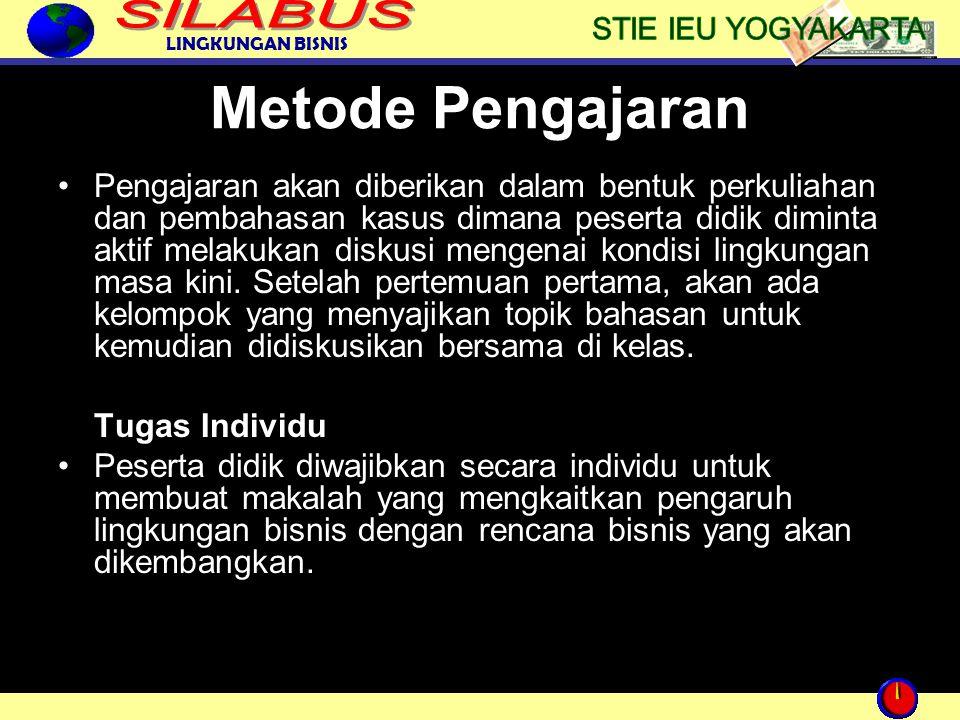 LINGKUNGAN BISNIS Metode Pengajaran Pengajaran akan diberikan dalam bentuk perkuliahan dan pembahasan kasus dimana peserta didik diminta aktif melakuk