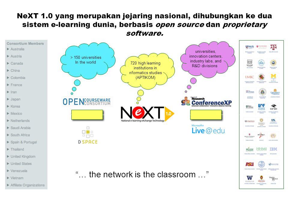 NeXT 1.0 yang merupakan jejaring nasional, dihubungkan ke dua sistem e-learning dunia, berbasis open source dan proprietary software.