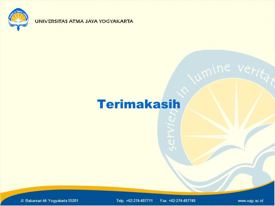 Jl. Babarsari 44 Yogyakarta 55281Telp. +62-274-487711 Fax. +62-274-487748www.uajy.ac.id Terimakasih