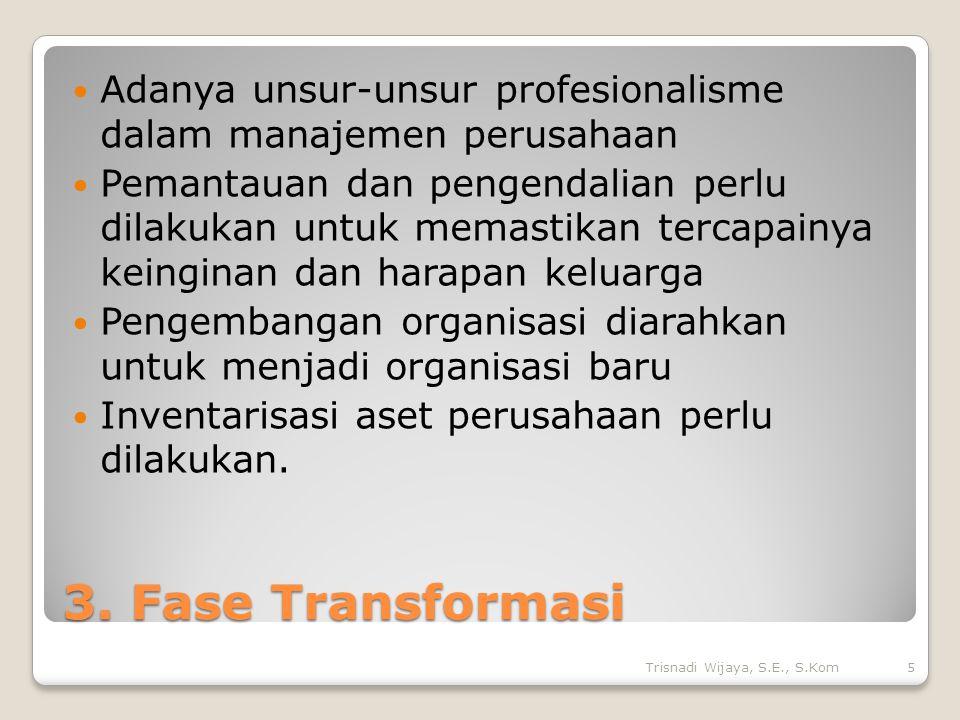 3. Fase Transformasi Adanya unsur-unsur profesionalisme dalam manajemen perusahaan Pemantauan dan pengendalian perlu dilakukan untuk memastikan tercap