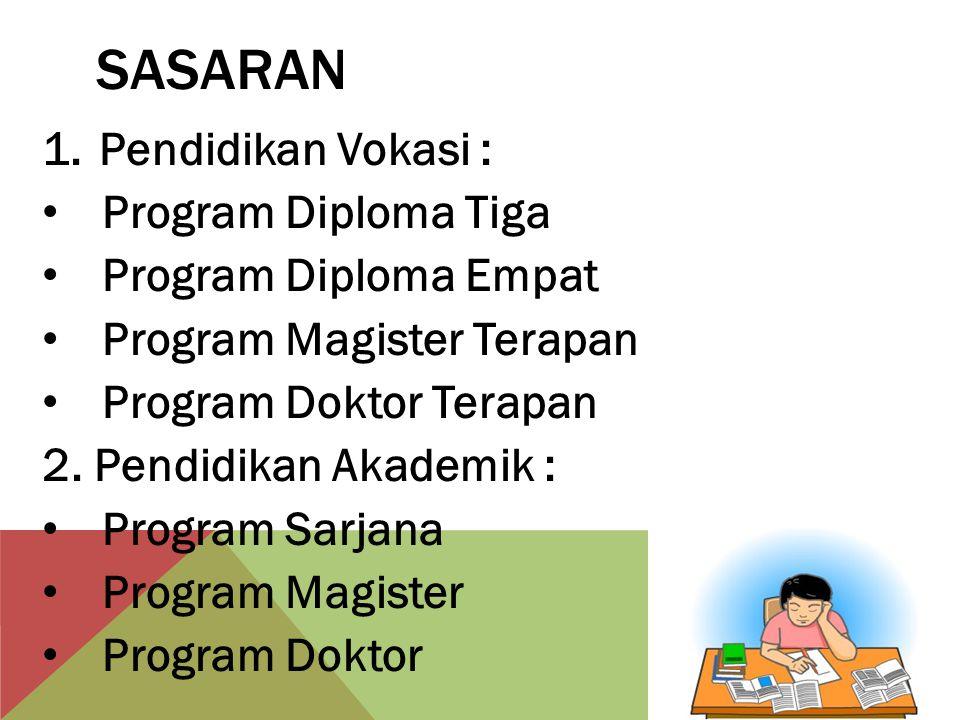 SASARAN 1.Pendidikan Vokasi : Program Diploma Tiga Program Diploma Empat Program Magister Terapan Program Doktor Terapan 2.