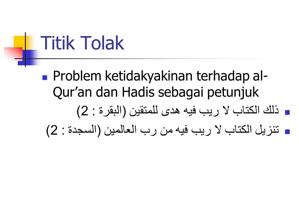 Titik Tolak Problem ketidakyakinan terhadap al- Qur'an dan Hadis sebagai petunjuk ذلك الكتاب لا ريب فيه هدى للمتقين ( البقرة : 2) تنزيل الكتاب لا ريب فيه من رب العالمين ( السجدة : 2)