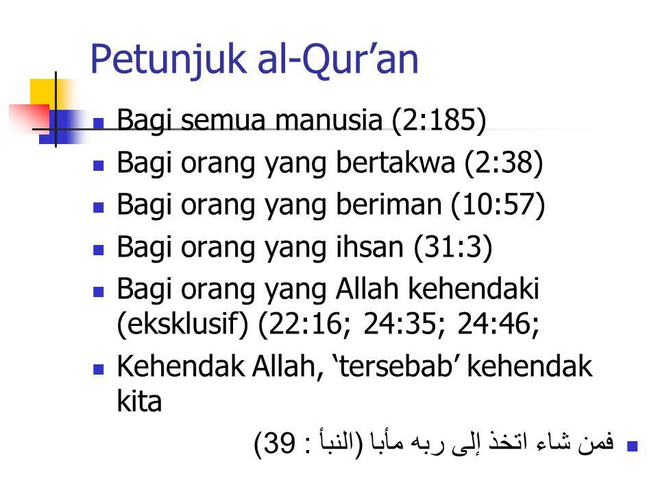Petunjuk al-Qur'an Bagi semua manusia (2:185) Bagi orang yang bertakwa (2:38) Bagi orang yang beriman (10:57) Bagi orang yang ihsan (31:3) Bagi orang