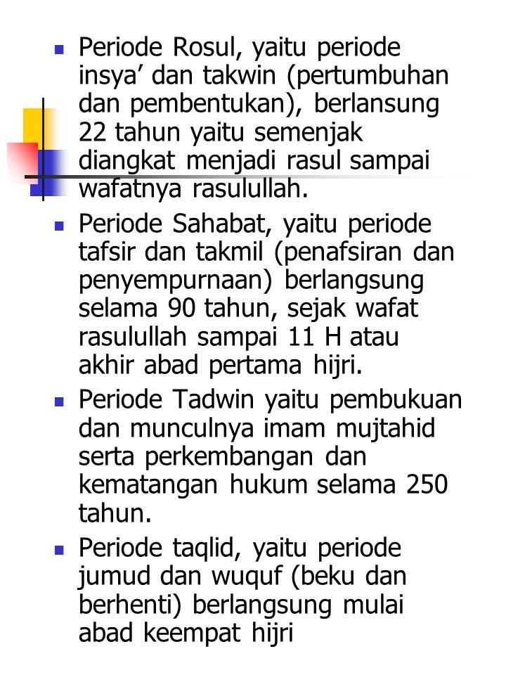 Periode Tadwin Masa pembukuan Hukum Islam Berlangsung selama 250 tahun yaitu mulai bagian kedua abad VII sampai abad ke-X M.
