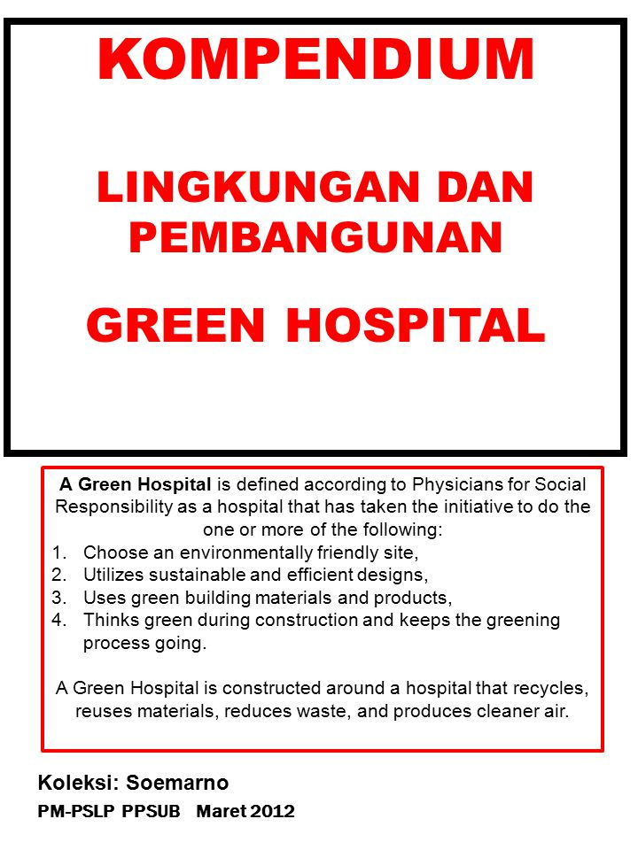 Building Attributes OF GREEN HOSPITAL by Robert F.