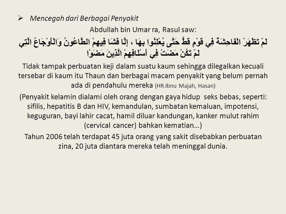  Mencegah dari Berbagai Penyakit Abdullah bin Umar ra, Rasul saw: لَمْ تَظْهَرْ الْفَاحِشَةُ فِي قَوْمٍ قَطُّ حَتَّى يُعْلِنُوا بِهَا ، إِلَّا فَشَا