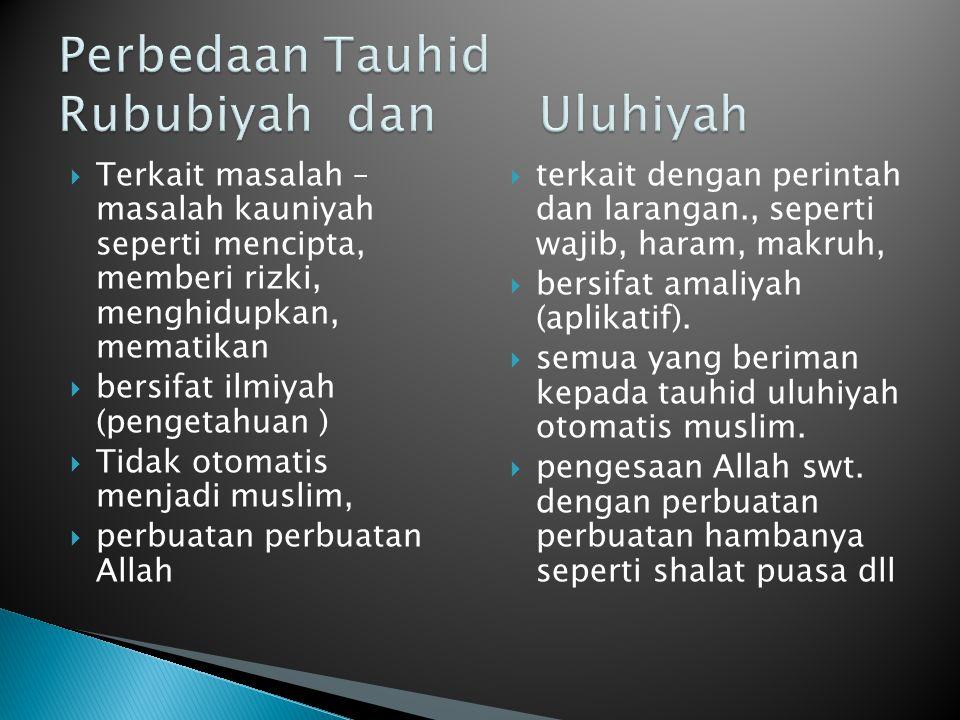  Terkait masalah – masalah kauniyah seperti mencipta, memberi rizki, menghidupkan, mematikan  bersifat ilmiyah (pengetahuan )  Tidak otomatis menja