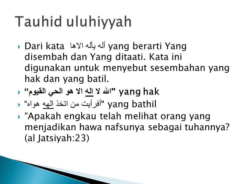  Dari kata أله يأله الاها yang berarti Yang disembah dan Yang ditaati. Kata ini digunakan untuk menyebut sesembahan yang hak dan yang batil. 
