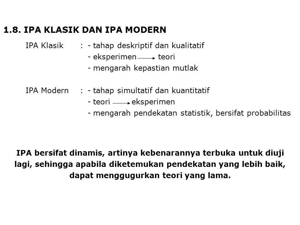 1.8. IPA KLASIK DAN IPA MODERN IPA Klasik:-tahap deskriptif dan kualitatif -eksperimen teori -mengarah kepastian mutlak IPA Modern:-tahap simultatif d