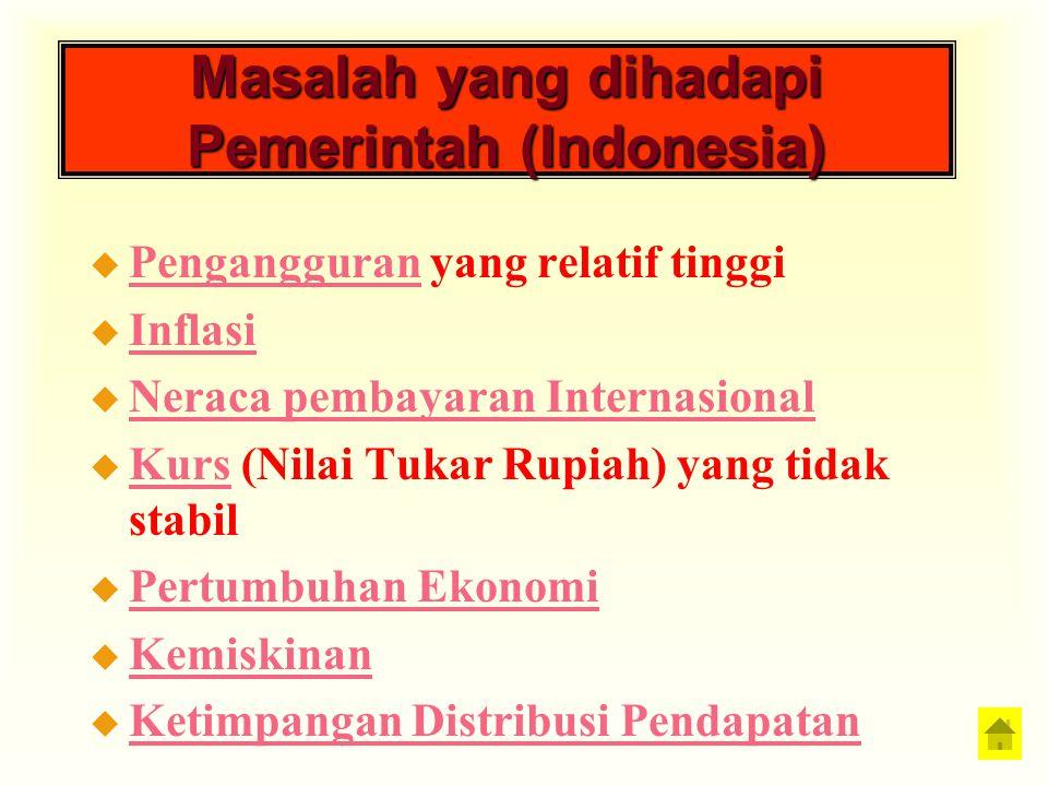 Masalah yang dihadapi Pemerintah (Indonesia) u Pengangguran yang relatif tinggi Pengangguran u Inflasi Inflasi u Neraca pembayaran Internasional Nerac