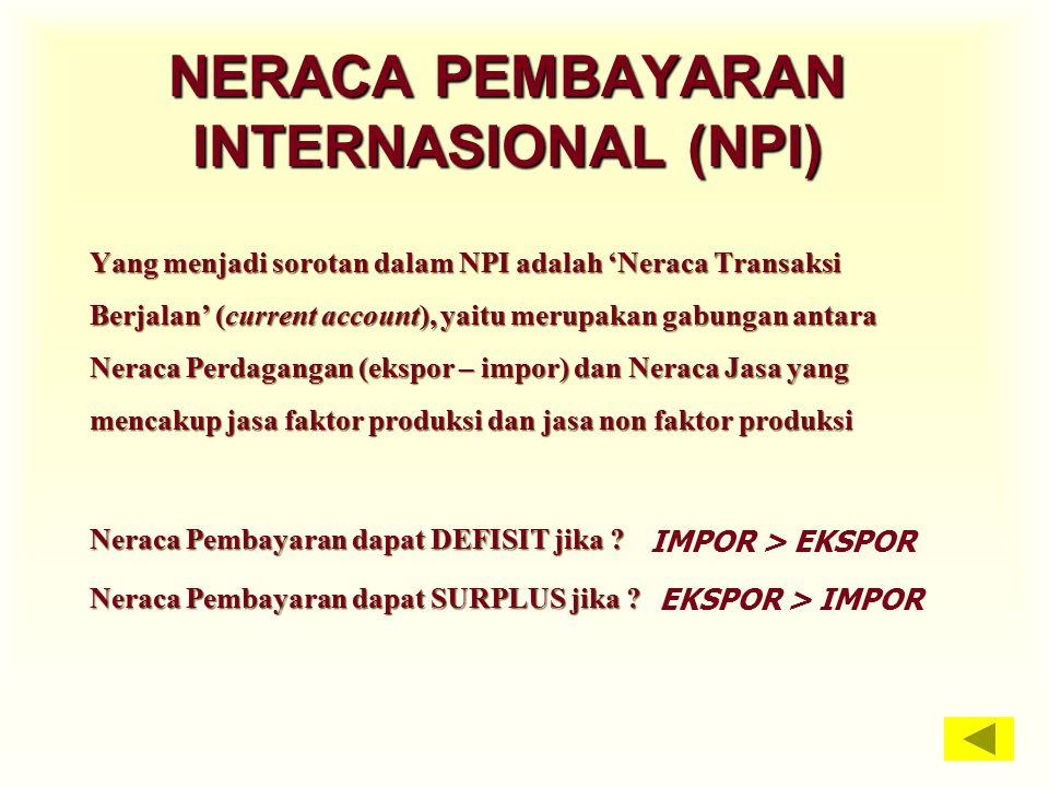 NERACA PEMBAYARAN INTERNASIONAL (NPI) Yang menjadi sorotan dalam NPI adalah 'Neraca Transaksi Berjalan' (current account), yaitu merupakan gabungan an