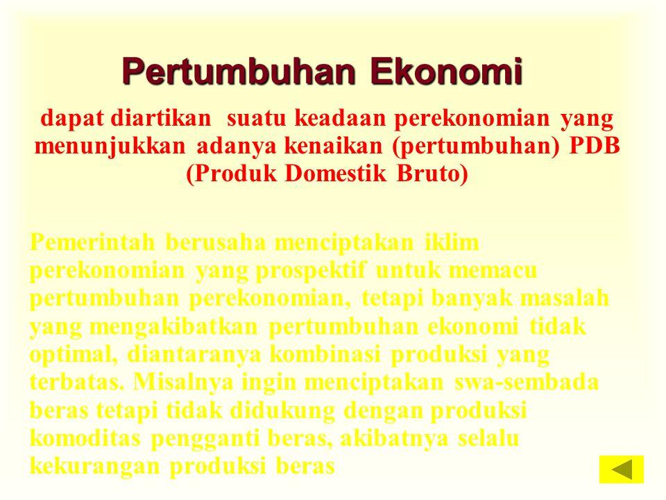 Pertumbuhan Ekonomi dapat diartikan suatu keadaan perekonomian yang menunjukkan adanya kenaikan (pertumbuhan) PDB (Produk Domestik Bruto) Pemerintah b