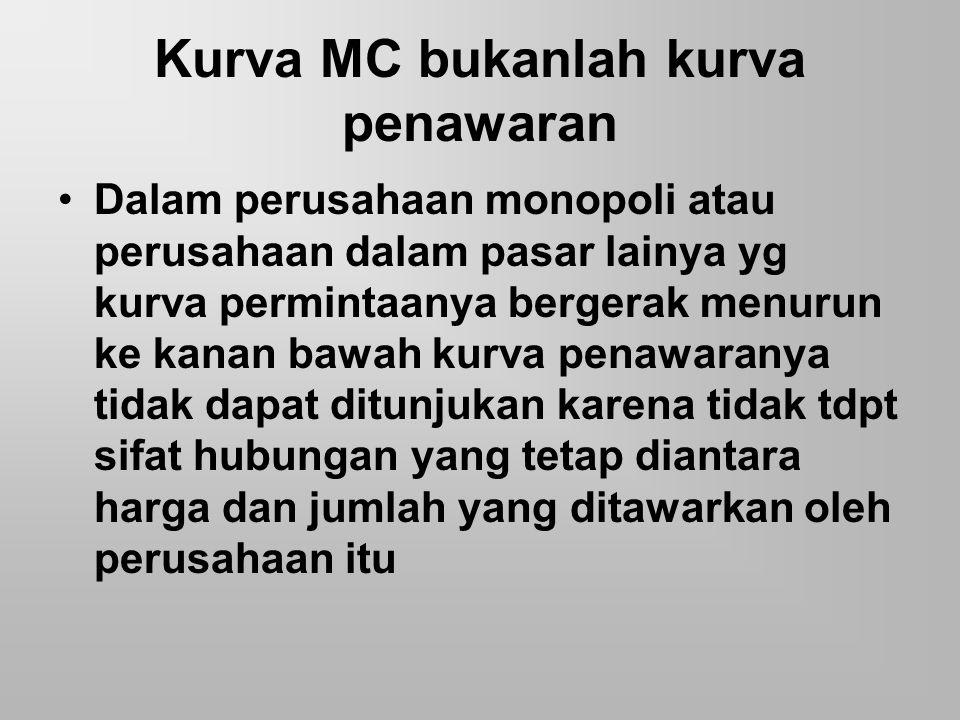 Kurva MC bukanlah kurva penawaran Dalam perusahaan monopoli atau perusahaan dalam pasar lainya yg kurva permintaanya bergerak menurun ke kanan bawah k