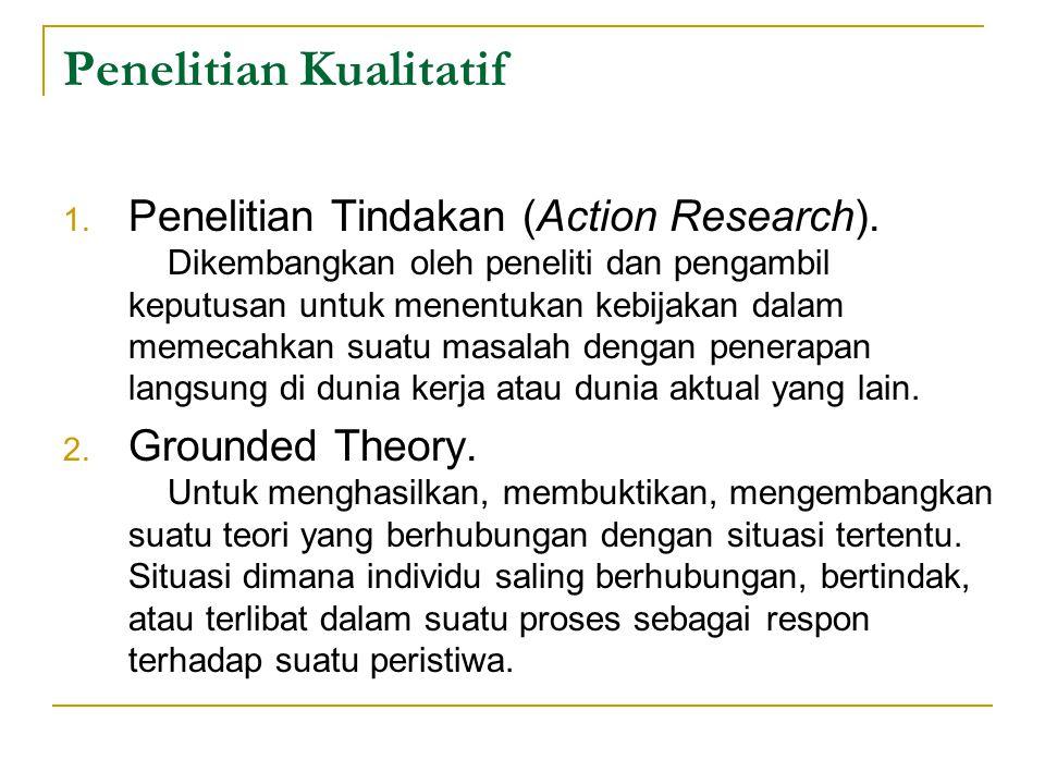 Penelitian Kualitatif 1.Penelitian Tindakan (Action Research).