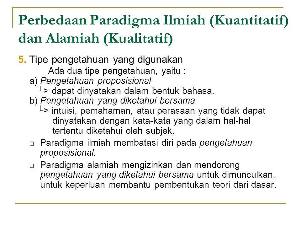 Perbedaan Paradigma Ilmiah (Kuantitatif) dan Alamiah (Kualitatif) 5.
