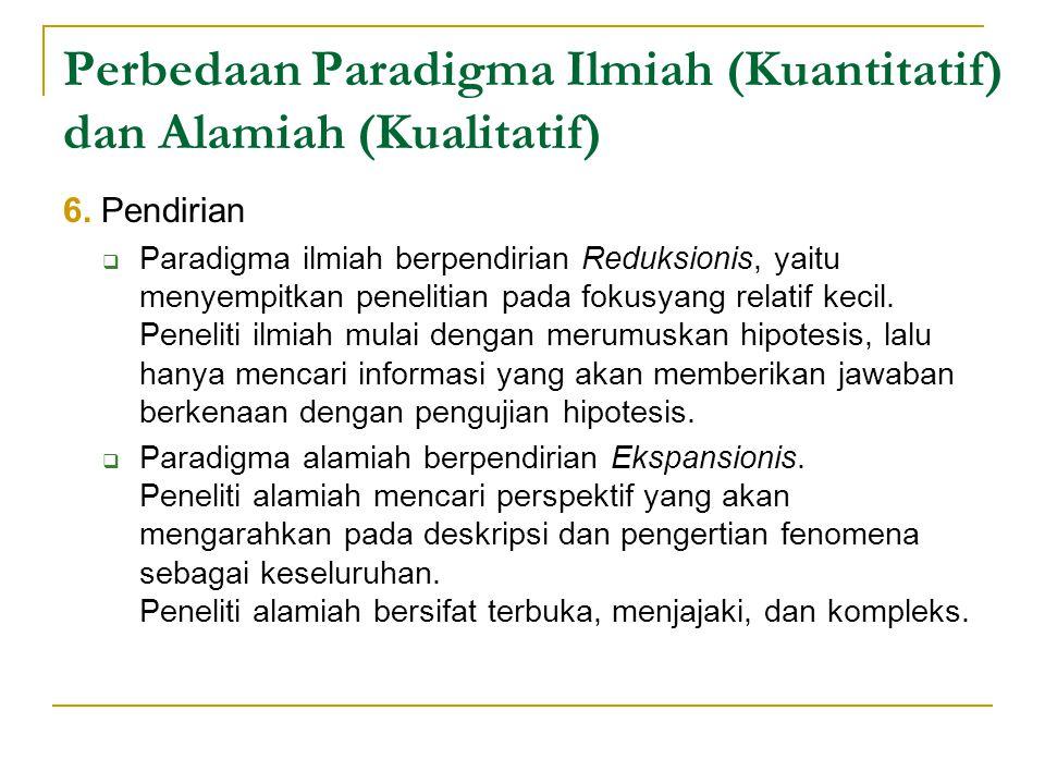 Perbedaan Paradigma Ilmiah (Kuantitatif) dan Alamiah (Kualitatif) 6.