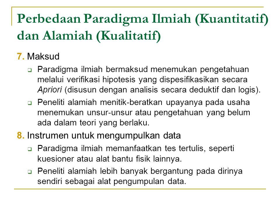 Perbedaan Paradigma Ilmiah (Kuantitatif) dan Alamiah (Kualitatif) 7.
