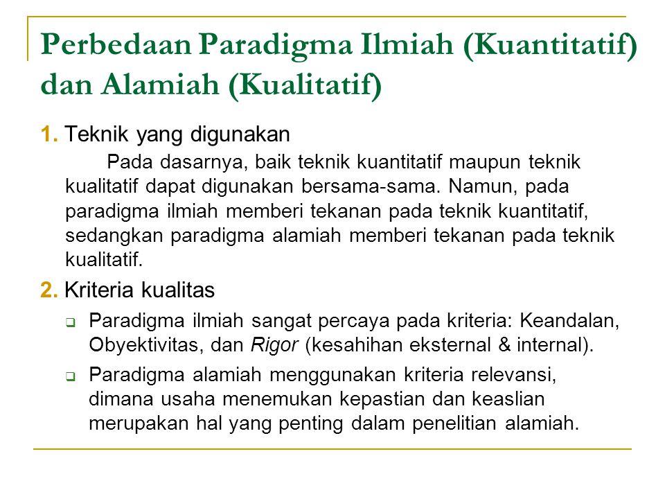 Perbedaan Paradigma Ilmiah (Kuantitatif) dan Alamiah (Kualitatif) 1.