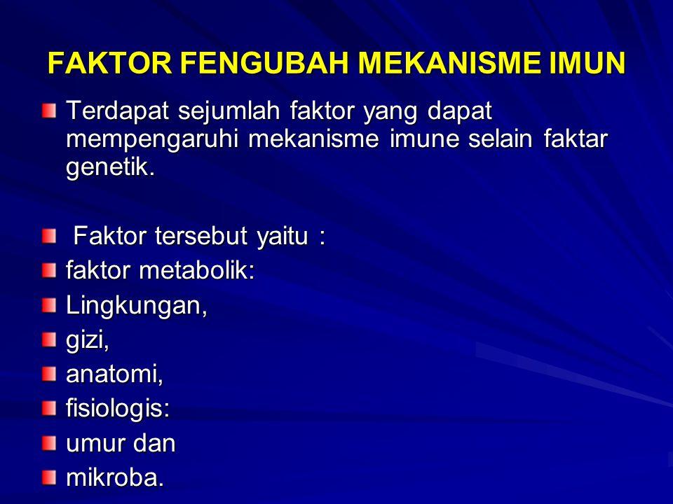 FAKTOR FENGUBAH MEKANISME IMUN Terdapat sejumlah faktor yang dapat mempengaruhi mekanisme imune selain faktar genetik. Faktor tersebut yaitu : Faktor