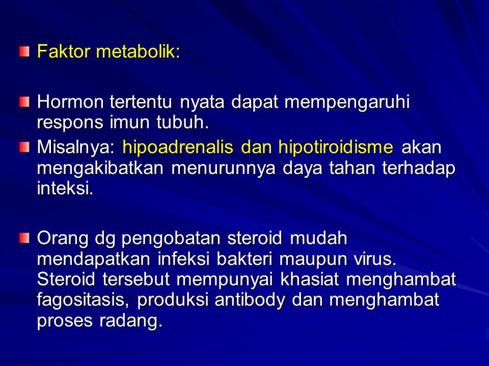 Faktor metabolik: Hormon tertentu nyata dapat mempengaruhi respons imun tubuh. Misalnya: hipoadrenalis dan hipotiroidisme akan mengakibatkan menurunny