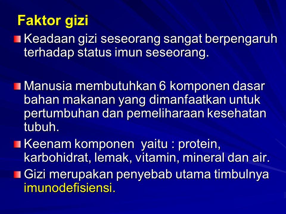 Faktor gizi Keadaan gizi seseorang sangat berpengaruh terhadap status imun seseorang. Manusia membutuhkan 6 komponen dasar bahan makanan yang dimanfaa