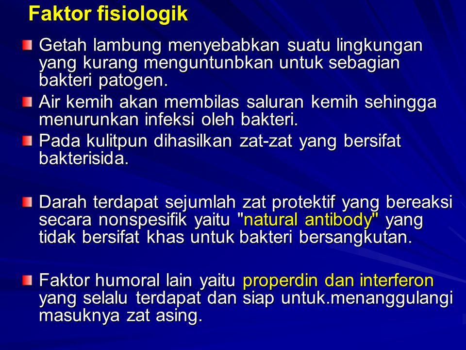 Faktor fisiologik Getah lambung menyebabkan suatu lingkungan yang kurang menguntunbkan untuk sebagian bakteri patogen. Air kemih akan membilas saluran