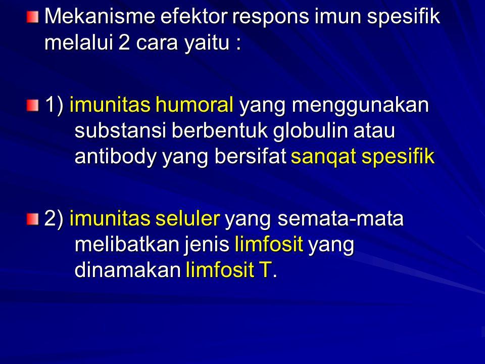 Mekanisme efektor respons imun spesifik melalui 2 cara yaitu : 1) imunitas humoral yang menggunakan substansi berbentuk globulin atau antibody yang be