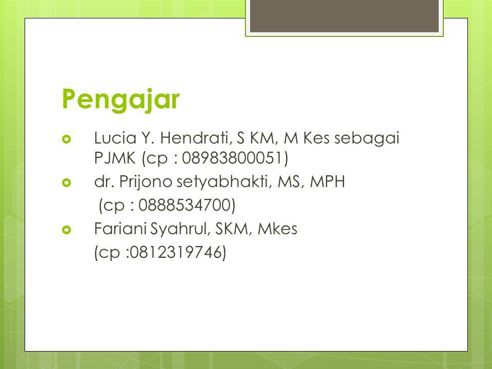 Pengajar  Lucia Y. Hendrati, S KM, M Kes sebagai PJMK (cp : 08983800051)  dr. Prijono setyabhakti, MS, MPH (cp : 0888534700)  Fariani Syahrul, SKM,