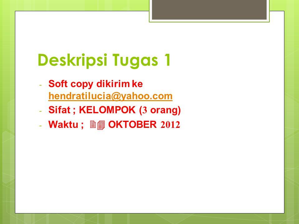 - Soft copy dikirim ke hendratilucia@yahoo.com hendratilucia@yahoo.com - Sifat ; KELOMPOK (3 orang) - Waktu ; 24 OKTOBER 2012
