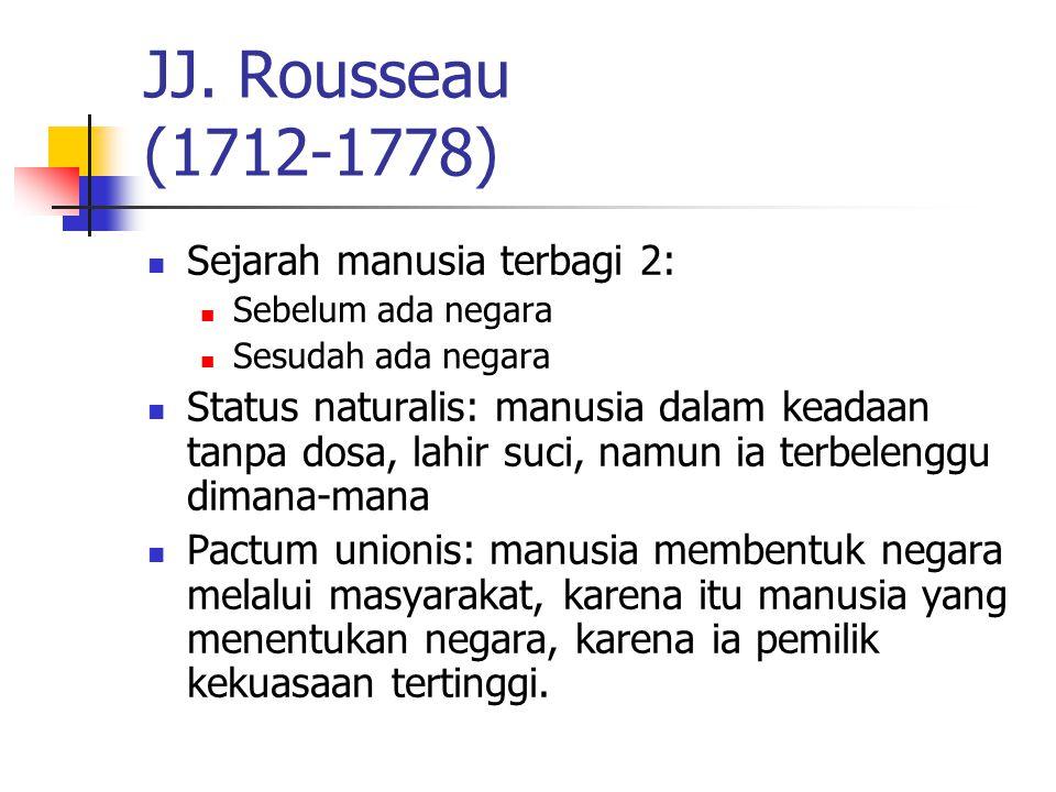 JJ. Rousseau (1712-1778) Sejarah manusia terbagi 2: Sebelum ada negara Sesudah ada negara Status naturalis: manusia dalam keadaan tanpa dosa, lahir su